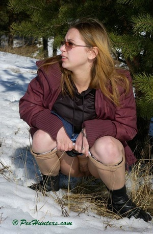 Teen peeing in the snow forest - XXXonXXX - Pic 10