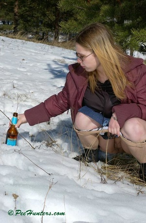Teen peeing in the snow forest - XXXonXXX - Pic 12