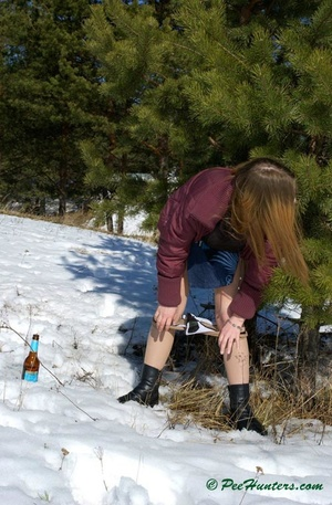 Teen peeing in the snow forest - XXXonXXX - Pic 16