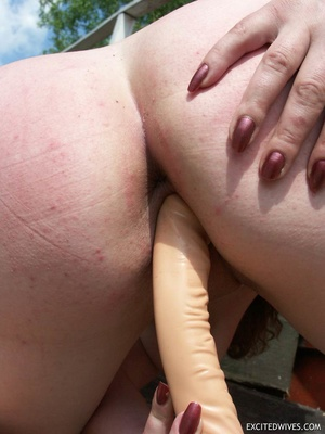 Busty mature wife toying her pussy with huge dildo outdoors. Tags: Insertion, brunette, shaved pussy, homemade. - XXXonXXX - Pic 7
