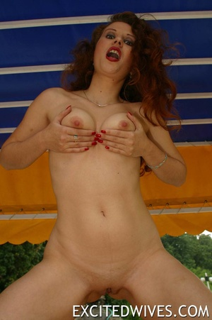 Sexy shaped redhead mature milf touching her boobs and shaved vagina. Tags: Naked girl, homemade, outdoors porn. - XXXonXXX - Pic 8