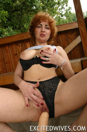 Mature redhead wife in black undies having fun with her two dildos. Tags: Homemade, granny, insertion, outdoors porn. - XXXonXXX - Pic 2