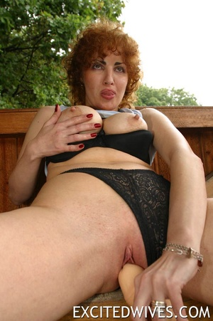 Mature redhead wife in black undies having fun with her two dildos. Tags: Homemade, granny, insertion, outdoors porn. - XXXonXXX - Pic 4