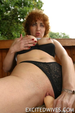 Check out homemade pics of redhead granny pleasing her shaved snatch. Tags: Dildo, mature wife, boobs. - XXXonXXX - Pic 3