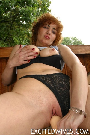 Check out homemade pics of redhead granny pleasing her shaved snatch. Tags: Dildo, mature wife, boobs. - XXXonXXX - Pic 4