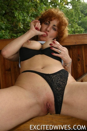 Check out homemade pics of redhead granny pleasing her shaved snatch. Tags: Dildo, mature wife, boobs. - XXXonXXX - Pic 5