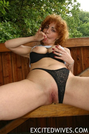 Check out homemade pics of redhead granny pleasing her shaved snatch. Tags: Dildo, mature wife, boobs. - XXXonXXX - Pic 6