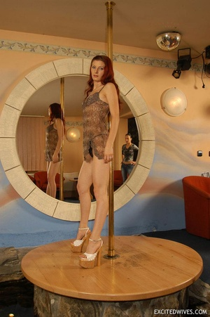 Awesome mature redhead babe in black panties performing pole dance. Tags: Redhead, small tits, homemade. - XXXonXXX - Pic 1