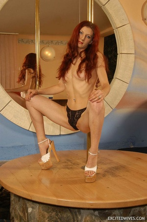 Awesome mature redhead babe in black panties performing pole dance. Tags: Redhead, small tits, homemade. - XXXonXXX - Pic 3