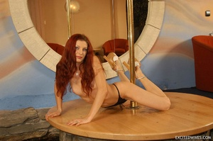 Awesome mature redhead babe in black panties performing pole dance. Tags: Redhead, small tits, homemade. - XXXonXXX - Pic 8