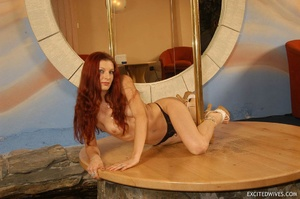 Awesome mature redhead babe in black panties performing pole dance. Tags: Redhead, small tits, homemade. - XXXonXXX - Pic 9