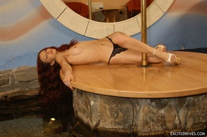 Awesome mature redhead babe in black panties performing pole dance. Tags: Redhead, small tits, homemade. - XXXonXXX - Pic 11