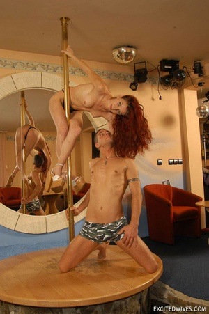 Mature redhead stunner dancing on the pole with her lover. Tags: Naked girl, sexy panties, perky tits, tight panties. - XXXonXXX - Pic 4