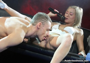 Sexy shaped blonde chick gets her shaved pussy licked by horny guy. Tags: Big tits, pussy licking, reality, public. - XXXonXXX - Pic 2