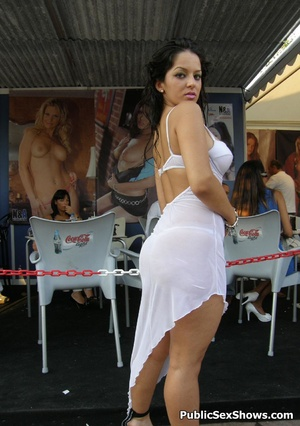 Awesome dark haired posing outdoors in sexy white dress. Tags: Sexy girl, public posing, reality, public. - XXXonXXX - Pic 9