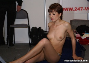 Short haired milf babe seductively stripteasing on the floor. Tags: Public posing, reality, perky tits. - XXXonXXX - Pic 1