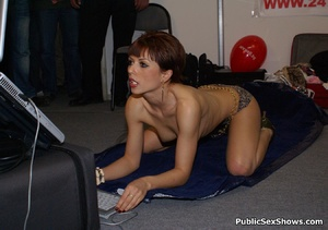 Short haired milf babe seductively stripteasing on the floor. Tags: Public posing, reality, perky tits. - XXXonXXX - Pic 6