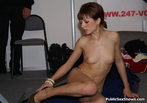 Short haired milf babe seductively stripteasing on the floor. Tags: Public posing, reality, perky tits. - XXXonXXX - Pic 8