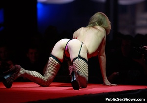 Sexy strip dance performed by awesome blonde in sexy stockings. Tags: Public, naked girls, high heels, reality. - XXXonXXX - Pic 9