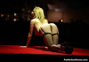 Stunning blonde hottie in sex ystockings teasing in public. Tags: Reality, big boobs, naked girl. - XXXonXXX - Pic 2