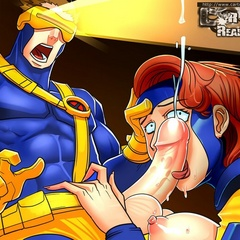 Cartoon X-Men babes enjoing huge pricks plowing their - Picture 2