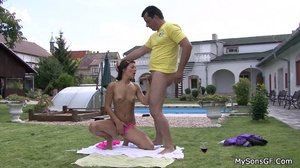 Petite body sexy girlfriend getting it on with older guy poolside. Tags: Shaved vagina, perky tits, sexy bikini, blowjob, old young. - XXXonXXX - Pic 7