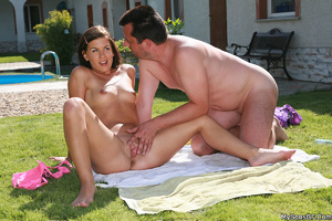 Xxx outdoors pics of lusty teen brunette having fun with older guy poolside. Tags: Shaved pussy, sexy bikini, perky tits, naked girl. - XXXonXXX - Pic 10