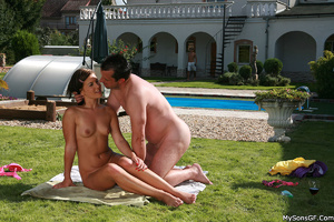 Xxx outdoors pics of lusty teen brunette having fun with older guy poolside. Tags: Shaved pussy, sexy bikini, perky tits, naked girl. - XXXonXXX - Pic 14