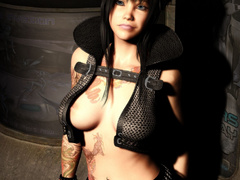 Latex dressed big boobed stunners going wild on these - Picture 1