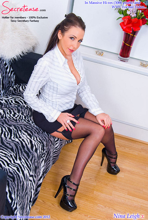 Brunette busty secretary in black stocki - XXX Dessert - Picture 3