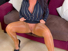 Busty office stunner in tan stockings - XXX Dessert - Picture 1