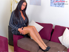 Busty office stunner in tan stockings - XXX Dessert - Picture 2