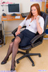 Redhead secretary in red undies and black stay ups toying her itching