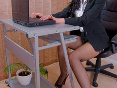 Big boobed office chick in fishnet - XXX Dessert - Picture 1