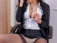 Big boobed office chick in fishnet - XXX Dessert - Picture 2