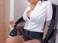 Big boobed office chick in fishnet - XXX Dessert - Picture 7