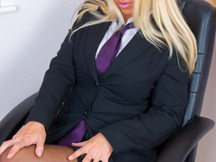 Blonde secretary in red undies and black - XXX Dessert - Picture 1