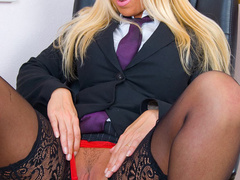Blonde secretary in red undies and black - XXX Dessert - Picture 2