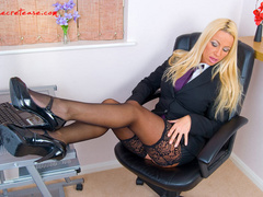 Blonde secretary in red undies and black - XXX Dessert - Picture 3