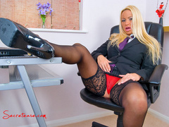 Blonde secretary in red undies and black - XXX Dessert - Picture 4