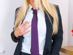 Blonde secretary in red undies and black - XXX Dessert - Picture 5
