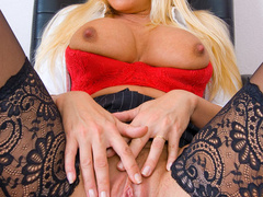 Blonde secretary in red undies and black - XXX Dessert - Picture 10