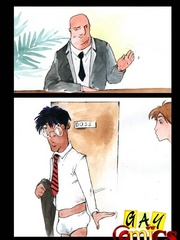 Gay Male Cartoons, the skinny guy gets it from the - Picture 10