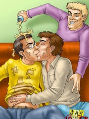 Super hot gay threesome with an explosive ending in - Picture 1