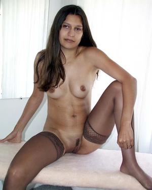 Real amateur indian girl in sexy stockings expsoing her shaved pussy and butt. - XXXonXXX - Pic 2