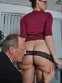 Sexi secretary mil in black undies gets her pussy licked and reemed out rough by her boss.