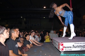 Xxx party blue painted striper girl in white panties looking so sexy while dancing on the pole in public. - XXXonXXX - Pic 4