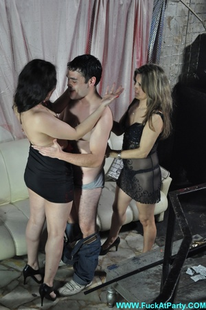 Reality orgy party pics of two nasty nymphs in black outfits undressing and blowing lucky guy. - XXXonXXX - Pic 14