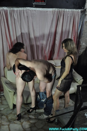 Reality orgy party pics of two nasty nymphs in black outfits undressing and blowing lucky guy. - XXXonXXX - Pic 15