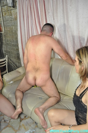 Orgy party pics of real amateur dude gets his ass hole fingered and cock sucked by three babes. - XXXonXXX - Pic 1